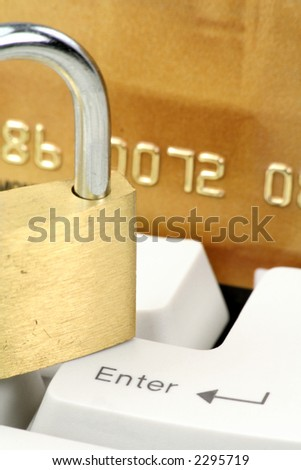 credit card, lock and keyboard, concept online shopping or banking safety - stock photo
