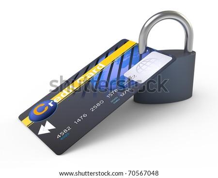 Credit card locked with padlock. Isolated white background. - stock photo