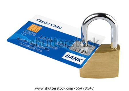 Credit card locked with security lock - stock photo