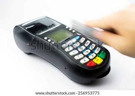 Credit card machine for payment and shopping - stock photo