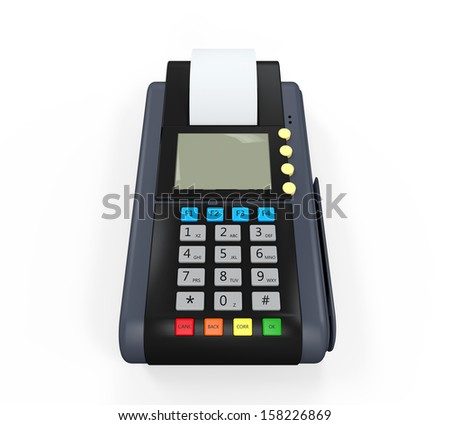 Credit Card Machine Isolated - stock photo