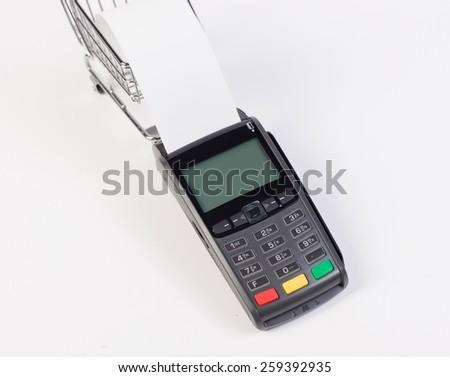 Credit card machine isolated on white background - stock photo