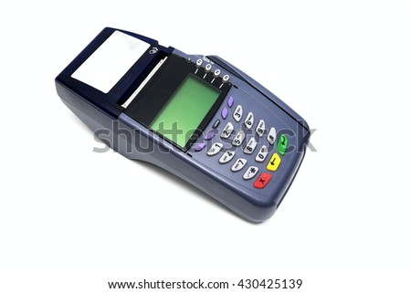 Credit card machine/payment terminal insulated. Isolated on white background.