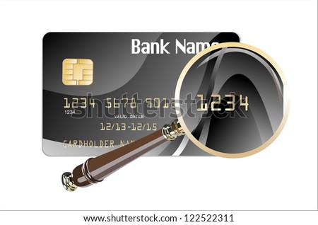 credit card magnify glass illustration design over a white background