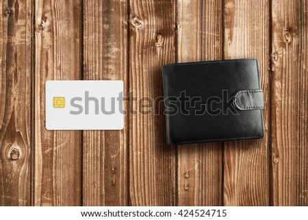 Credit card mockup and wallet - stock photo