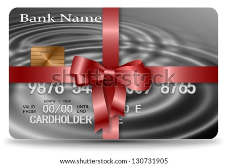Credit card nicely wrapped with a red ribbon / Gift credit card - stock photo