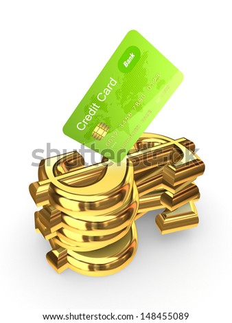 Credit card on a stack of dollar signs.Isolated on white.3d rendered. - stock photo