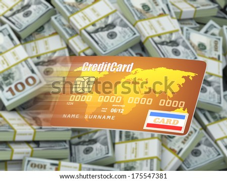 Credit card on dollar packs background. 3d