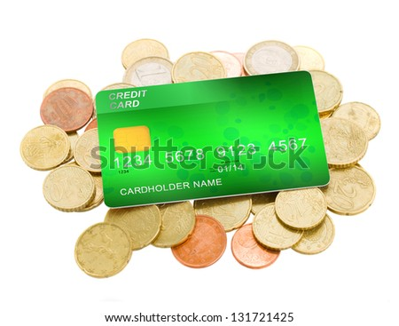 credit card on pile of euro coins isolated on white background - stock photo