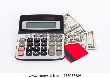 Credit card, one hundred dollar banknotes and calculator, isolated on white background. - stock photo