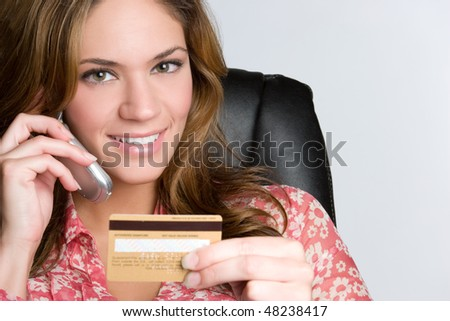 Credit Card Phone Woman - stock photo