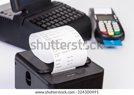 Credit Card Processor, Receipt Printer with paper shopping bill   and Touchscreen  isolated on white background - stock photo