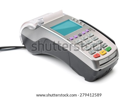 Credit card reader isolated on white - stock photo