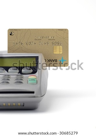 credit card reader isolated on white background - stock photo