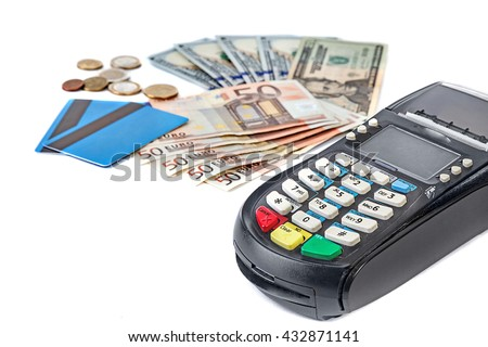 Credit card reader with cash and cards. Paper currency and coins : euro and dollars. - stock photo
