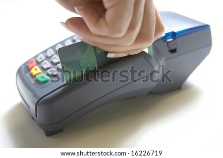 Credit card ready to swipe through terminal for sale - stock photo