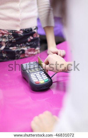 credit card sale in shop - stock photo
