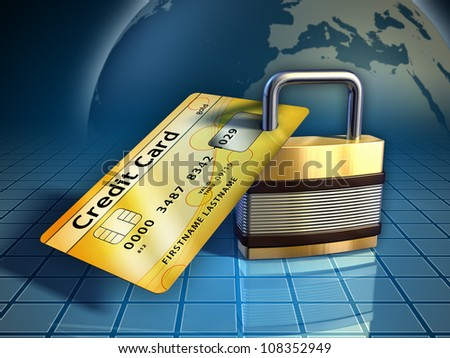 Credit card secured by a metal lock. Digital illustration. - stock photo