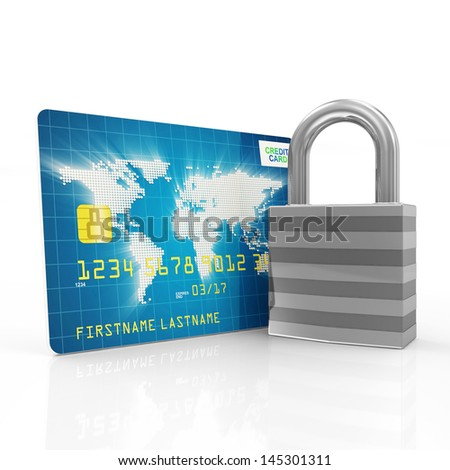Credit Card Security and Protection Concept. Credit Card with metal Padlock isolated on white background - stock photo