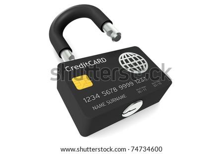 Credit Card Security.  Credit Card made like a Padlock symbolizing Safe Payments - stock photo