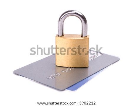 Credit card security isolated on white background