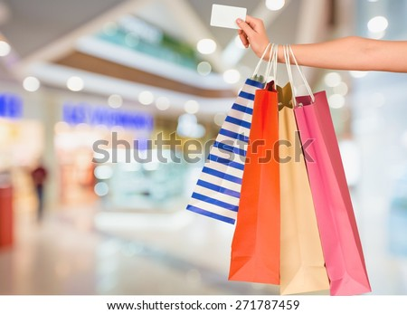 Credit Card, Shopping Bag, Shopping. - stock photo
