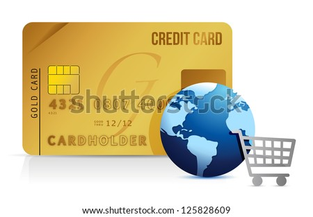 Credit card, shopping cart and globe - concept illustration design