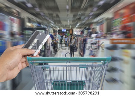 Credit Card,Shopping cart in the supermarket - stock photo
