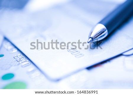 Credit Card sign with pen for shopping, e commerce