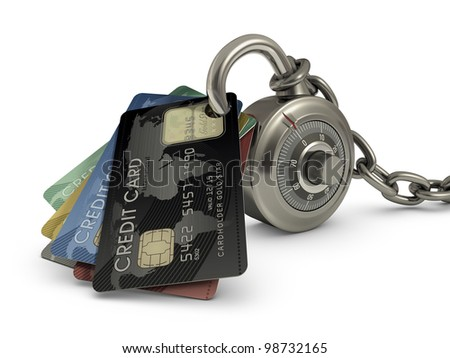 Credit card stuck in a lock code. Concept of protection against theft of your money. - stock photo
