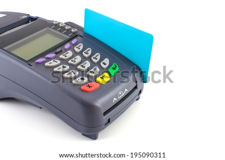 credit card swipe through terminal for sale - stock photo