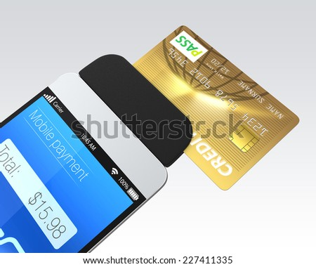 Credit card swiping through a mobile payment attachment for smartphone - stock photo