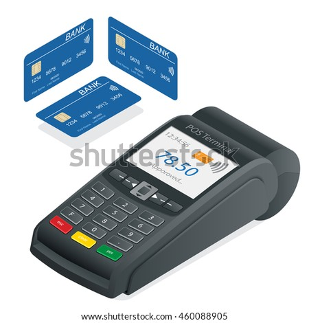 Credit card terminal on a white background. POS Terminal and debit credit card, near field communication technology, online banking. Flat 3d isometric illustration