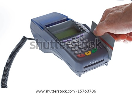 credit card terminal on a white isolated background