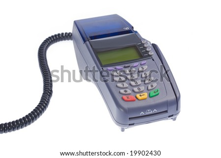 Credit card terminal On a white isolated background - stock photo