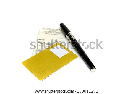 credit card wait for signing on a sale transaction - stock photo