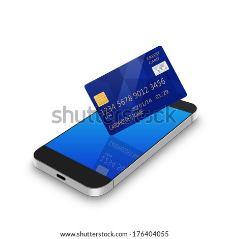 credit card with cell phone illustration