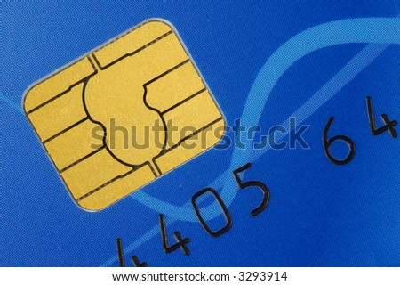 Credit Card With Chip. Closeup. - stock photo