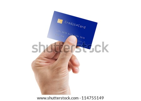 Credit card with chip in a male hand isolated on white - stock photo