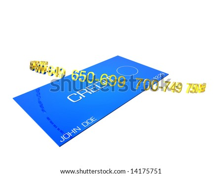 Credit card with credit rating numbers - stock photo
