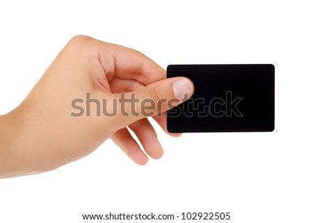 Credit card with empty space hand holding. Isolated on white background - stock photo
