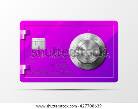 Credit card with image of a safe with a combination lock Credit card icon Plastic card with safe Combination lock Credit card Bank card Deposit card Credit card Bank card Deposit card Credit card Bank - stock photo