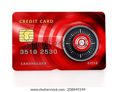 Credit card with lock isolated on white background. - stock photo