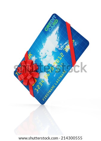 Credit Card with Red Ribbon and Bow isolated on white background