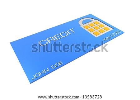 Credit card with secure lock area - stock photo