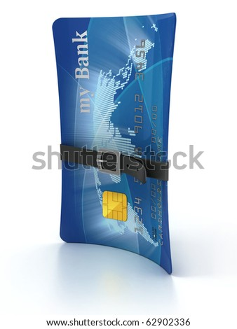 credit card with tighten belt 3d concept - stock photo