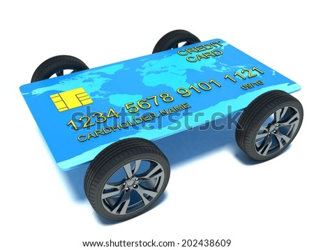 Credit Card with Wheels isolated on white background - stock photo