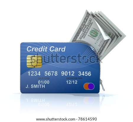 Credit card with zipper - stock photo