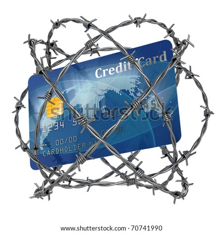 credit card wrapped in barbed wire 3d illustration - stock photo