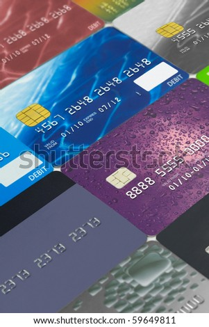 Credit cards and  bank cards - stock photo